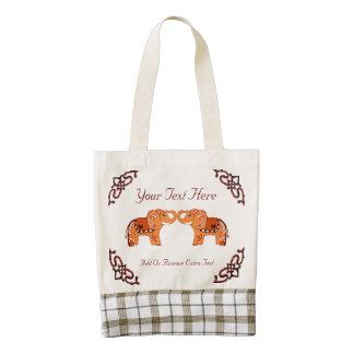 Henna Elephant (Orange/Red) Zazzle HEART Tote Bag