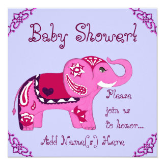 Henna Elephant (Pink/Purple) (Baby Shower) Card