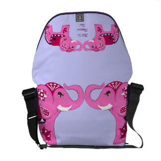 Henna Elephant (Pink/Purple) Courier Bag