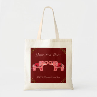Henna Elephant (Red/Pink) Canvas Bag