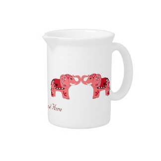 Henna Elephant (Red/Pink) Beverage Pitcher