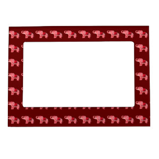 Henna Elephant (Red/Pink) Magnetic Picture Frame