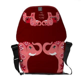 Henna Elephant (Red/Pink) Messenger Bag