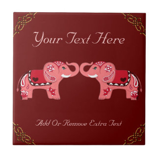 Henna Elephant (Red/Pink) Tiles