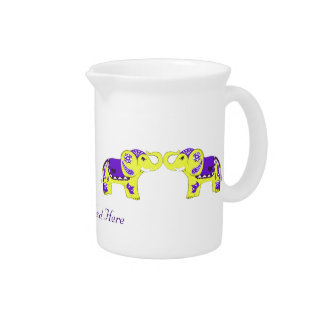 Henna Elephant (Yellow/Purple) Drink Pitcher
