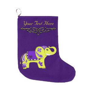 henna elephant yellowpurple large christmas stocking - Purple Christmas Stocking