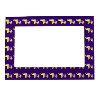 Henna Elephant (Yellow/Purple) Magnetic Picture Frame