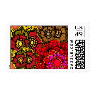 Henna Fall Flowers Postage Stamps