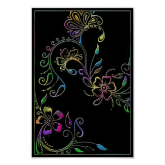 Henna Floral Design Customized Poster