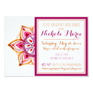 Henna Flower Bridal Shower Invitation Fuschia