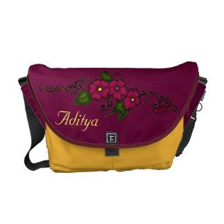 Henna Flower (Fuschia) Messenger Bag