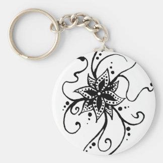 Henna Flower in Vines Keychain