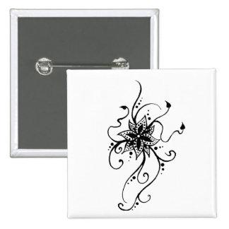 Henna Flower in Vines Pinback Button