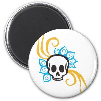 Henna Flower Pirate Skull 2 Inch Round Magnet