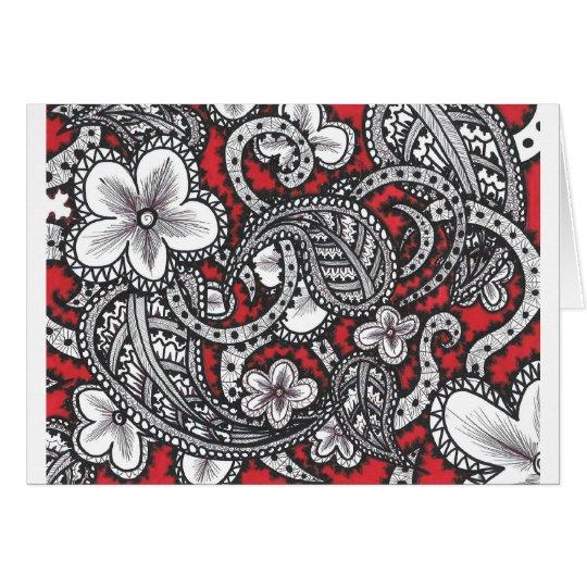 henna flowers card