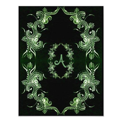Henna Mehndi Green St : Henna green mehndi bollywood card zazzle