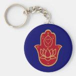 Henna Hamsa Lotus Basic Round Button Keychain
