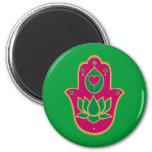 Henna Hamsa Lotus Green & Pink 2 Inch Round Magnet