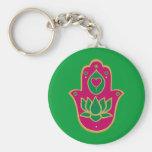 Henna Hamsa Lotus Green & Pink Basic Round Button Keychain