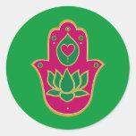 Henna Hamsa Lotus Green & Pink Classic Round Sticker