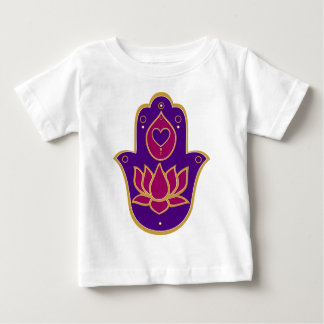 Henna Hamsa Lotus Pink Baby T-Shirt