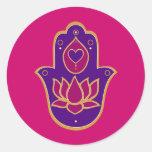 Henna Hamsa Lotus Pink Classic Round Sticker