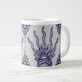 Henna Hand (Blue) Giant Coffee Mug