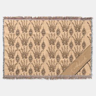 Henna Hand Brown Throw Blanket