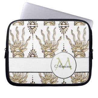 Henna Hand (Golden) (Monogram) Laptop Computer Sleeve