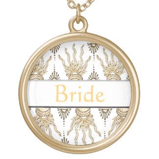 Henna Hand (Golden) (Wedding) Round Pendant Necklace