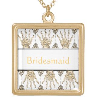 Henna Hand (Golden) (Wedding) Square Pendant Necklace