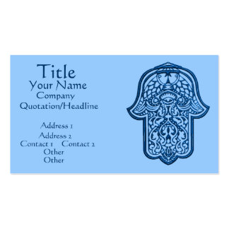 Henna Hand of Hamsa (Blue) Double-Sided Standard Business Cards (Pack Of 100)