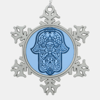 Henna Hand of Hamsa (Blue) Ornaments