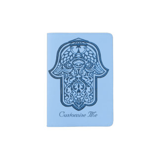Henna Hand of Hamsa (Blue) Passport Holder