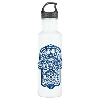 Henna Hand of Hamsa (Blue) Stainless Steel Water Bottle