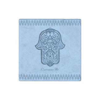 Henna Hand of Hamsa (Blue) Stone Magnet