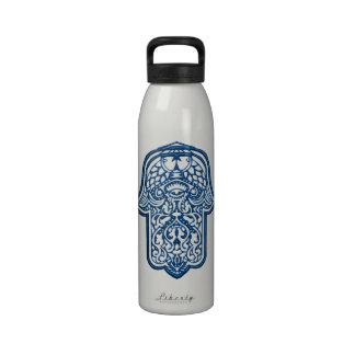 Henna Hand of Hamsa (Blue) Reusable Water Bottle