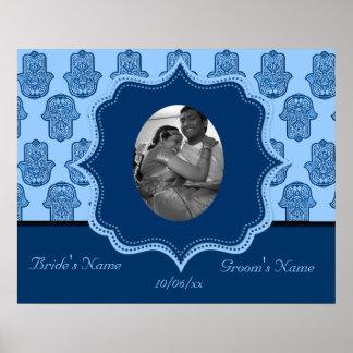 Henna Hand of Hamsa (Blue) (Wedding) Poster
