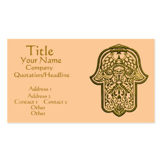 Henna Hand of Hamsa (Golden) Double-Sided Standard Business Cards (Pack Of 100)