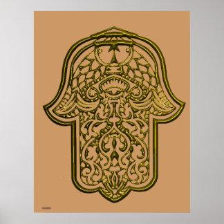 Henna Hand of Hamsa (Golden) Poster
