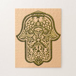 Henna Hand of Hamsa (Golden) Jigsaw Puzzle