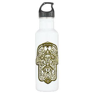 Henna Hand of Hamsa (Golden) Stainless Steel Water Bottle