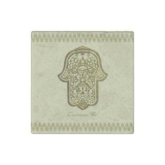 Henna Hand of Hamsa (Golden) Stone Magnet