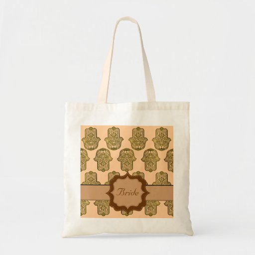 Henna Hand of Hamsa (Golden) (Wedding) Canvas Bag