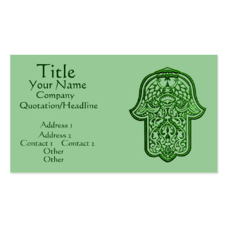 Henna Hand of Hamsa (Green) Double-Sided Standard Business Cards (Pack Of 100)