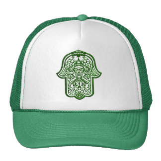 Henna Hand of Hamsa Green Trucker Hats