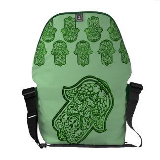 Henna Hand of Hamsa (Green) Messenger Bag