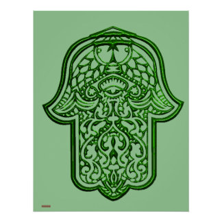 Henna Hand of Hamsa (Green) Poster
