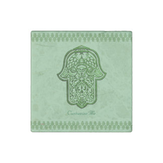 Henna Hand of Hamsa (Green) Stone Magnet