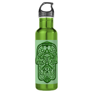 Henna Hand of Hamsa (Green) Water Bottle